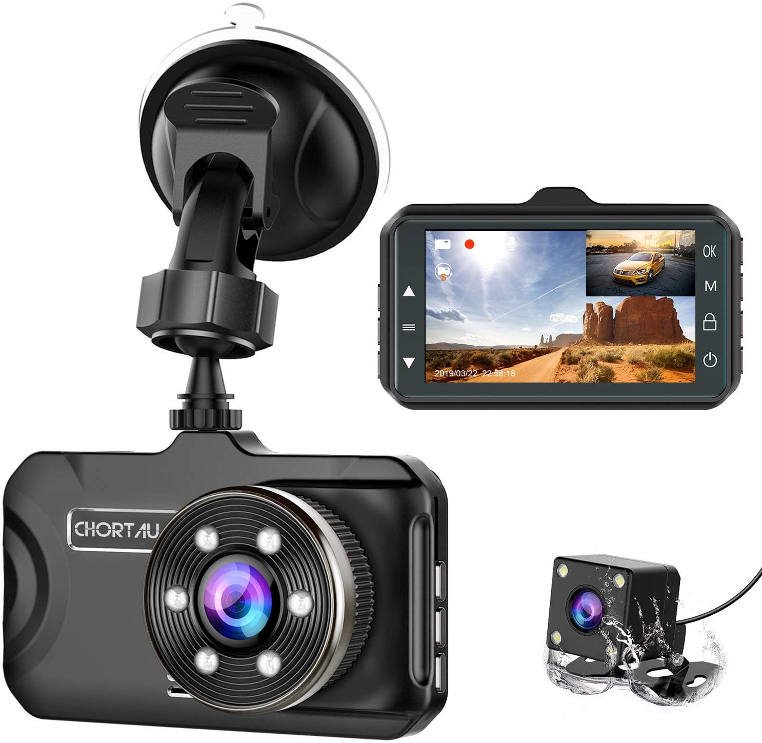 Dash Cam Front and Rear CHORTAU Dual Dash Cam