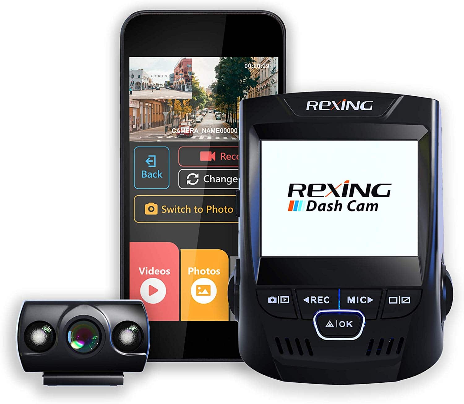 "Rexing V1P 2.4"" LCD FHD 1080p with 170 Degree Wide Angle Dual Channel Wi-Fi Dashboard Camera"