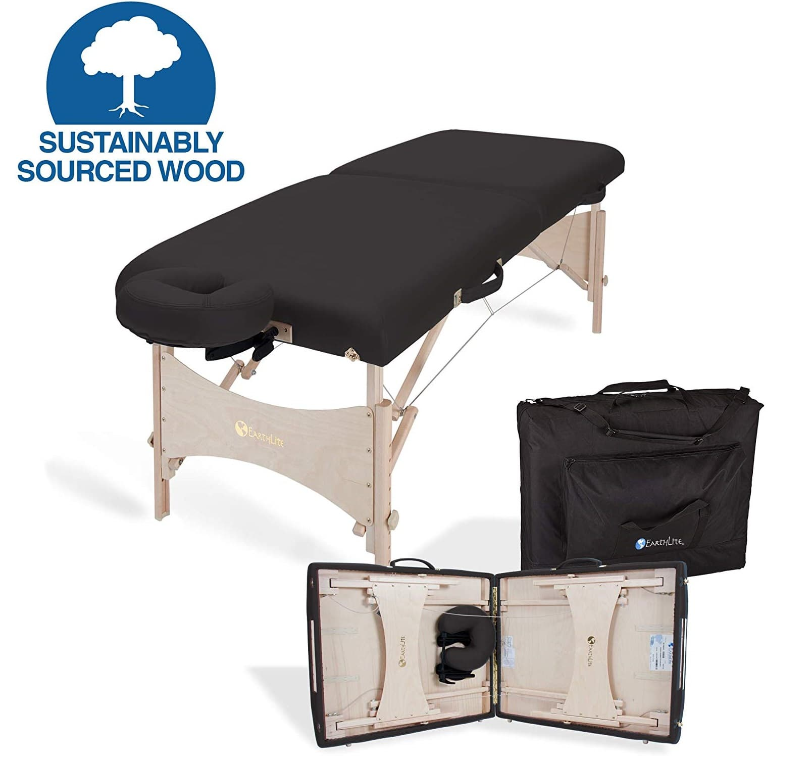 1.EARTHLITE Portable Massage Table HARMONY DX – Eco-Friendly Design, Hard Maple, Superior Comfort, Deluxe Adjustable Face Cradle