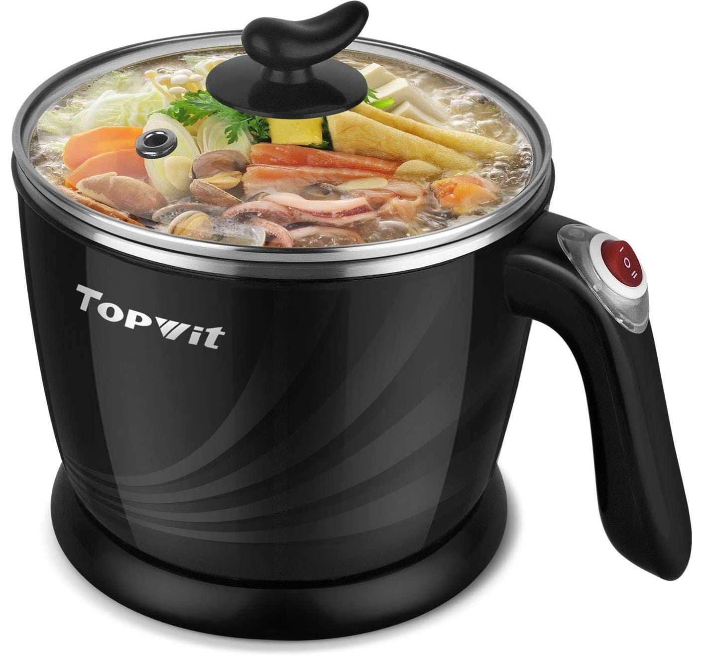 1.Topwit Electric Hot Pot Mini, Electric Cooker, Noodles Cooker, Electric Kettle with Multi-Function for Steam, Egg, Soup