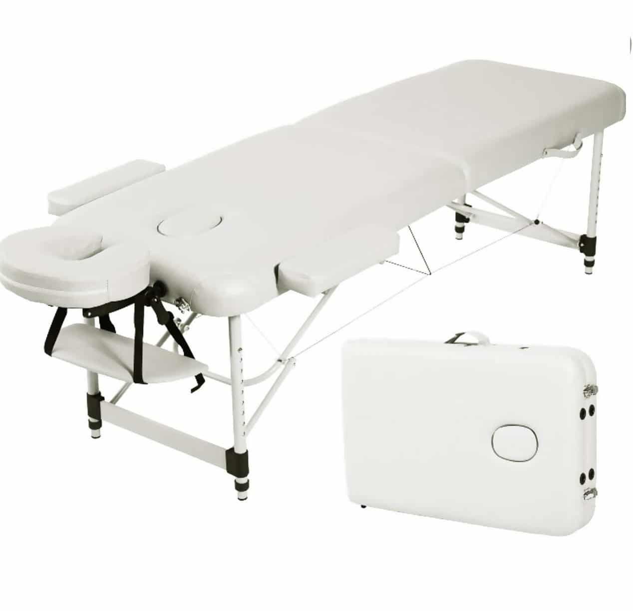 10.Angel USA Ultra Light Weight Sturdy Aluminum Frame 84L Portable Massage Table Facial SPA Bed Tattoo w Free Carry Case, Face Cradle, Arm Rests
