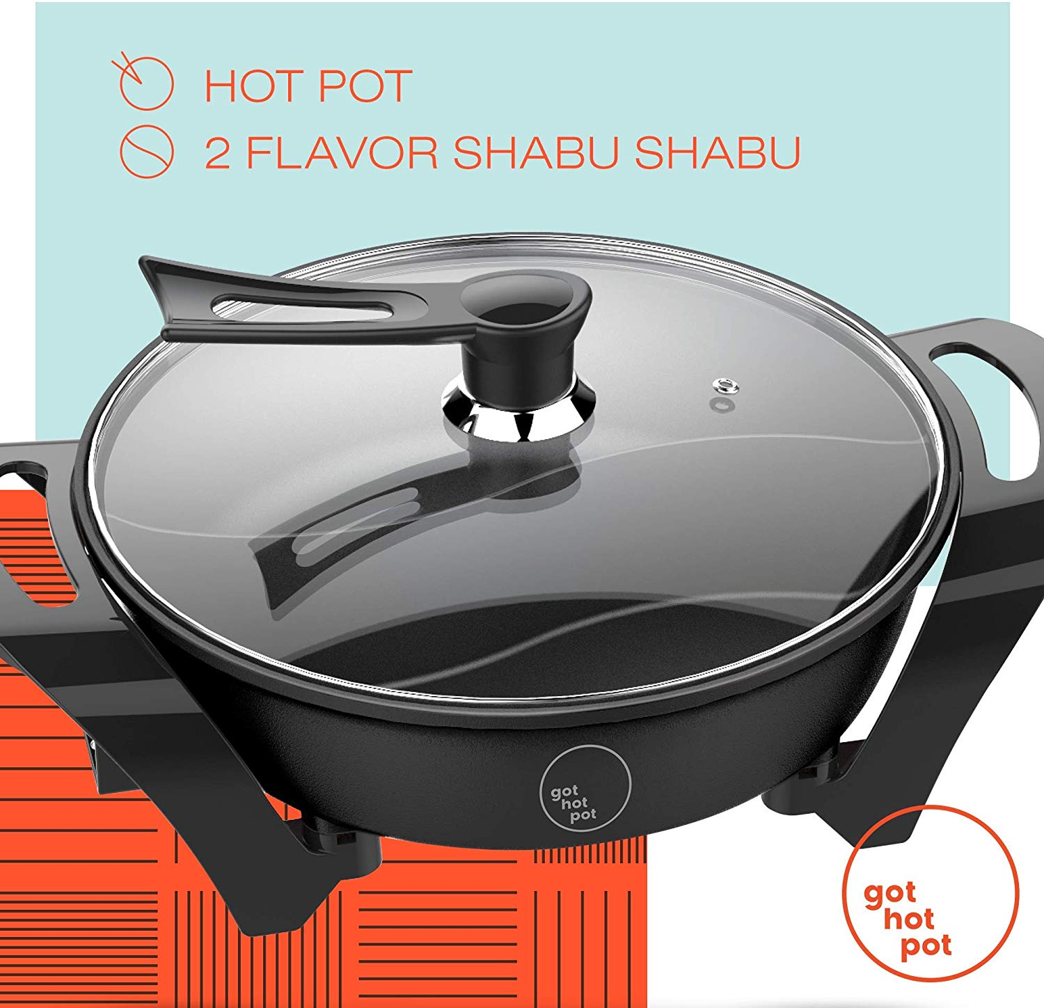 10.GOT HOT POT Electric Indoor Shabu Shabu Hot Pot with Internal Divider for 2 Flavor Experience Hot Pot Cooker Non Stick Surface with Heat Control Unit