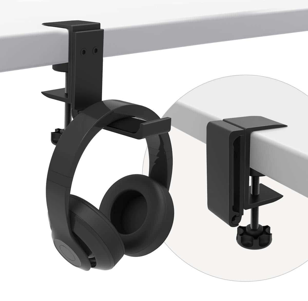 10.oldable Headphone Stand Hanger Holder Bracket Aluminum Headset Soundbar Stand Clamp Hook Under Desk Space Save Mount Fold