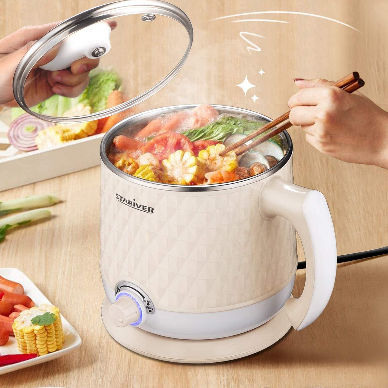 11.Stariver Electric Hot Pot, Electric Cooker, 1.8L Multi-Functional Mini Pot for Noodles, Soup, Porridge, Dumplings, Eggs