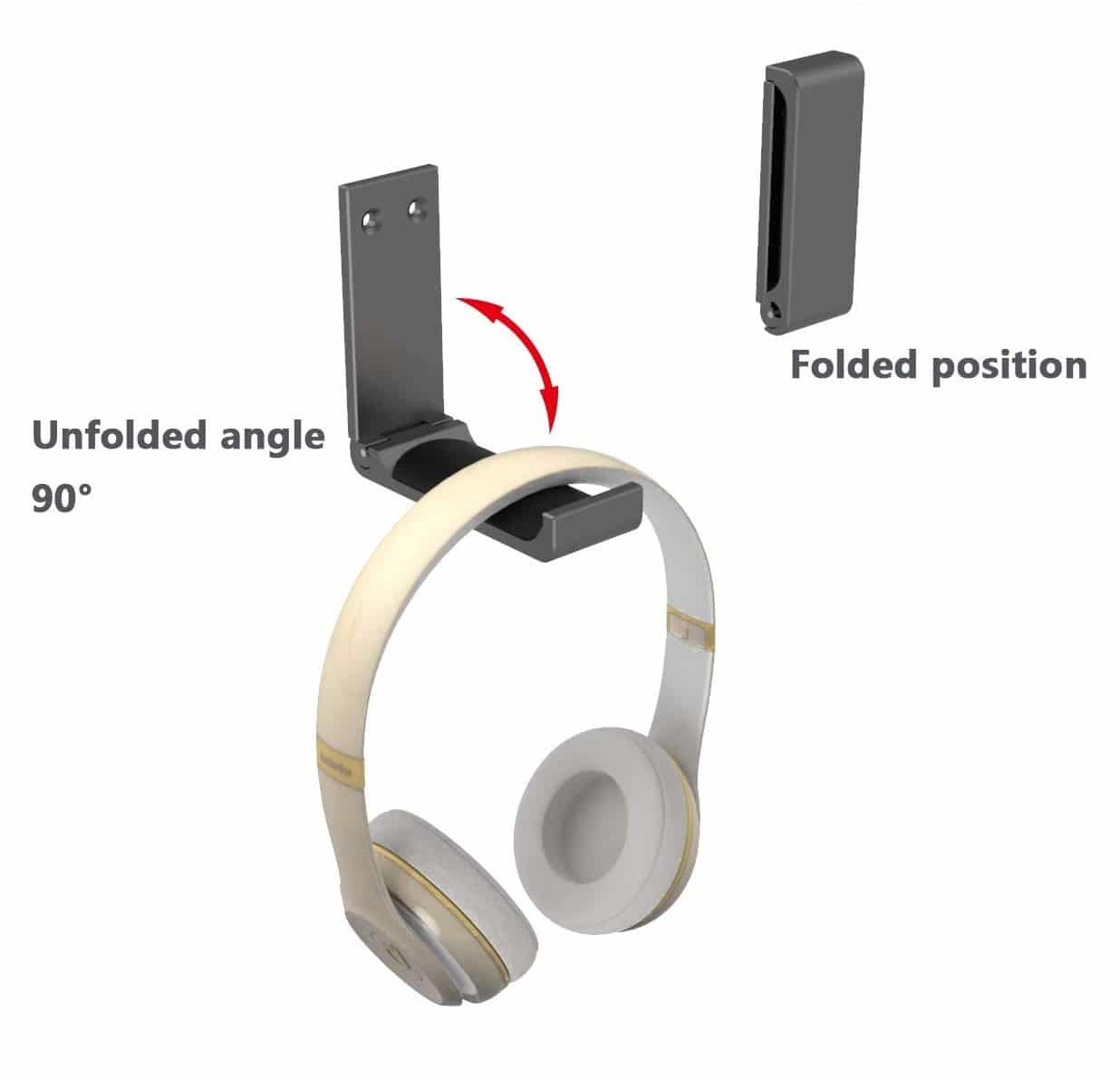 11.Yocice Headphone Stand Hanger,Headset Holder Mount,Hook Aluminum with Strong Adhesive Tape for Headphones (Black- HH03)