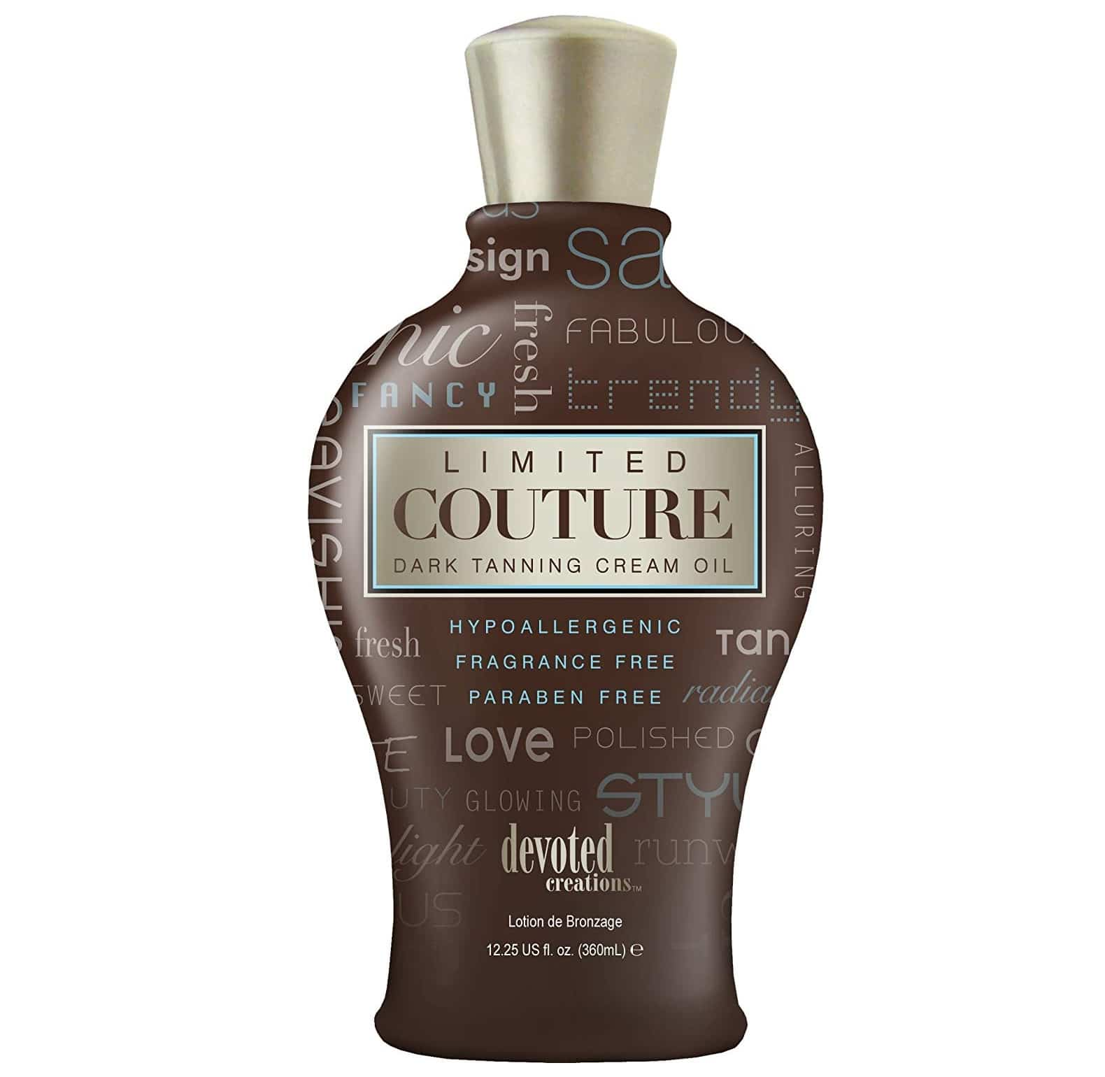 12.Devoted Creations Limited Couture Hypoallergenic Paraben Free Dark Tanning Creme Oil 12.25 oz.