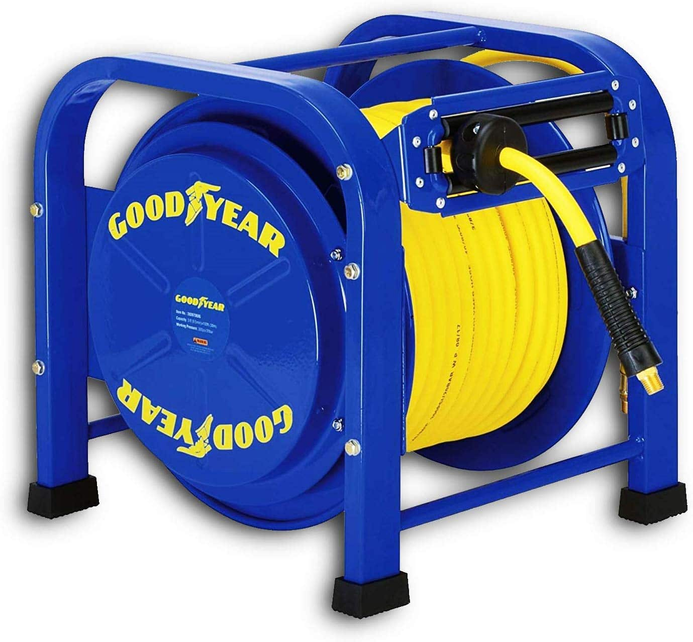 12.GOODYEAR Air-Hose-Reel Retractable 3 8 Inch x 100 Feet 300 Psi 20 Bar Spring Driven Steel Elite Portable Quad Pod Heavy Duty Industrial Longest Premium