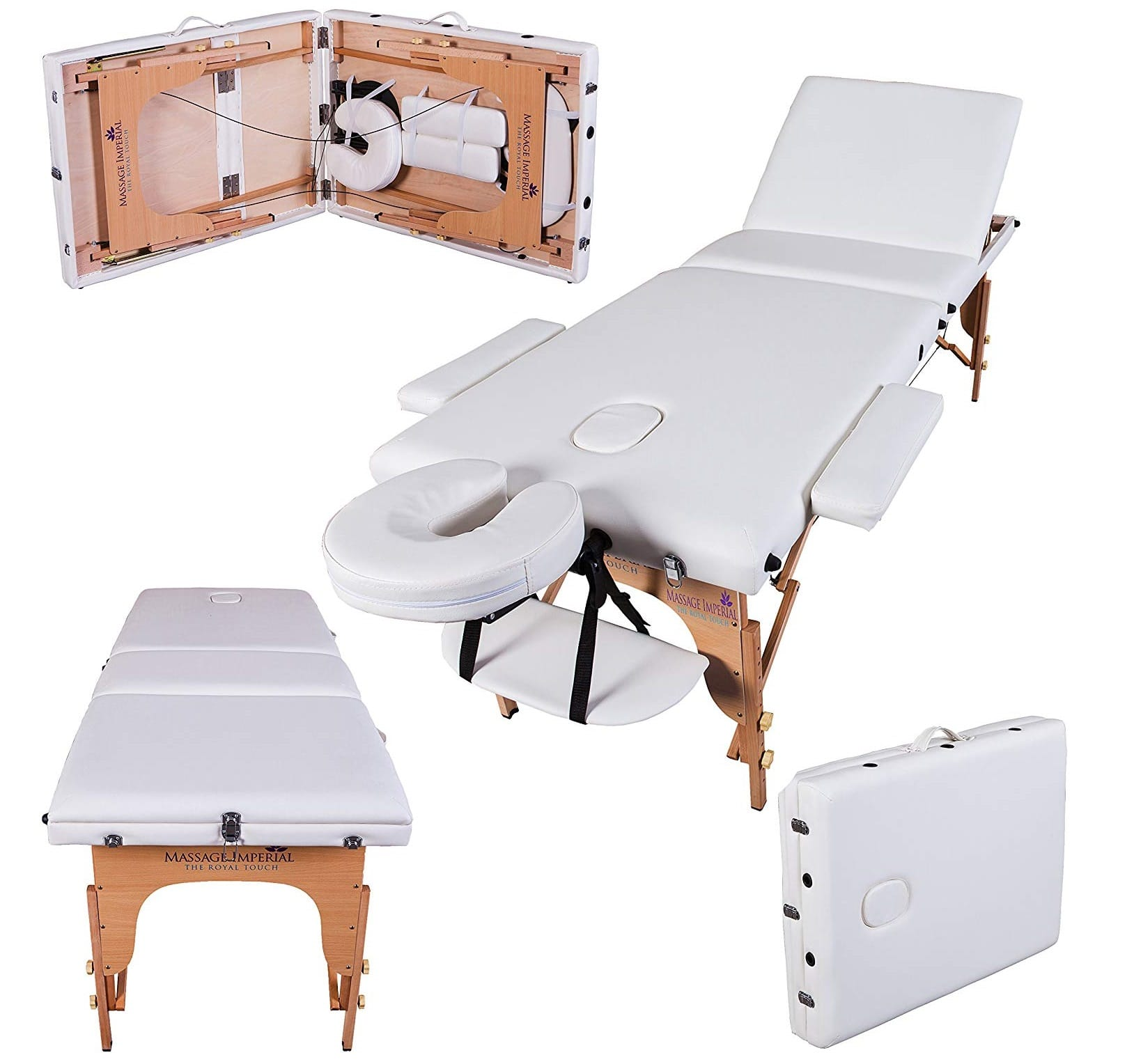 12.Massage Imperial® Deluxe Lightweight Ivory White 3-Section Portable Massage Table Couch Bed Reiki