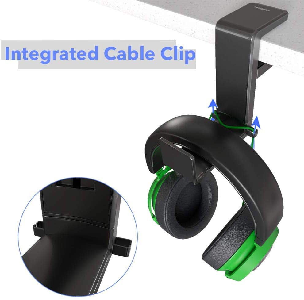 13.GoZheec PC Gaming Headphone Stand Holder, Under Desk Headset Headphone Hanger with Portable Spring Loaded Clamp and Adjustable 360 Rotating Arm