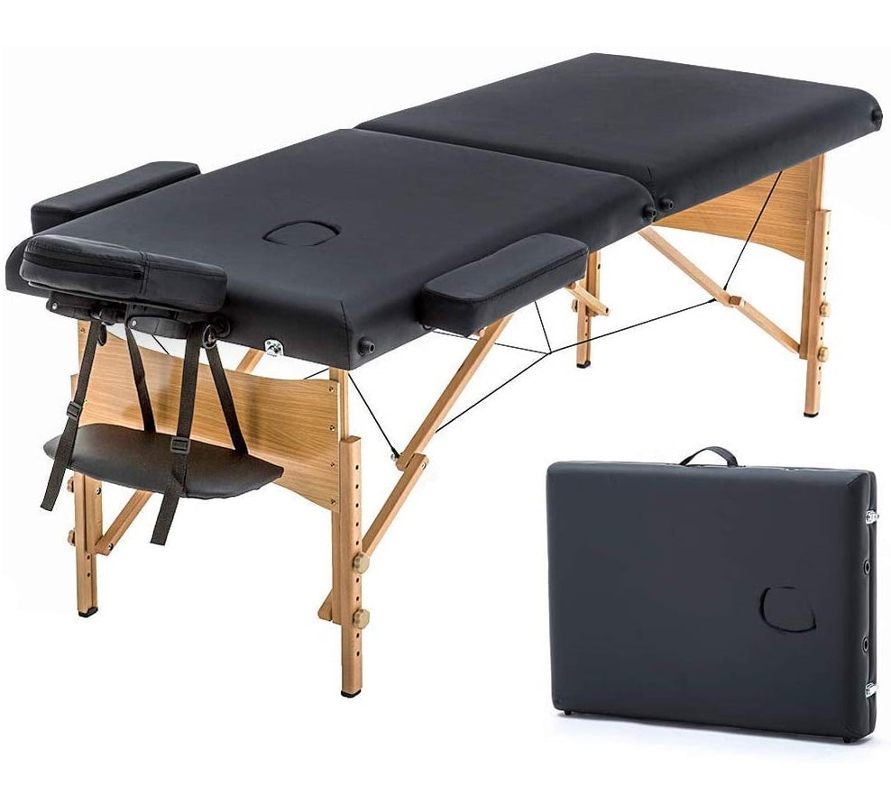 13.New Black 73in Portable Massage Table w Free Carry Case Chair Bed Spa Facial (Renewed)
