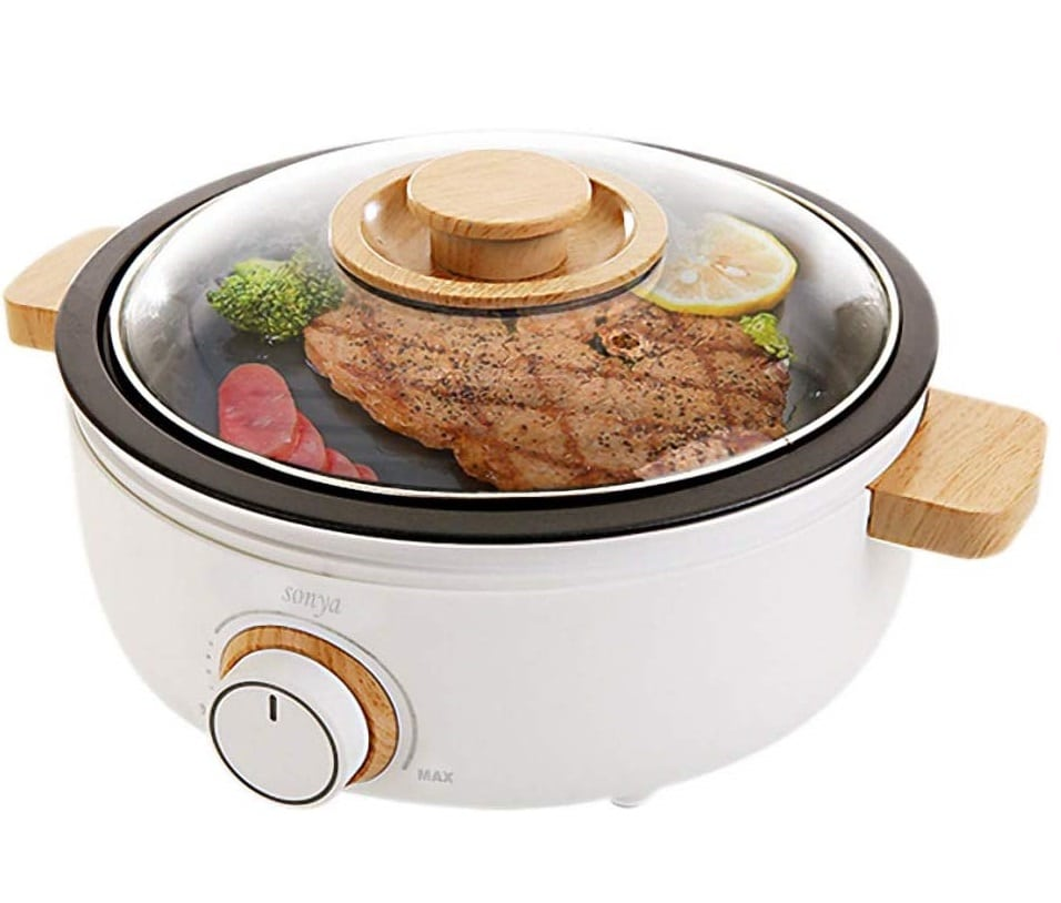 13.Sonya SYHP-2B High End Multi-Functional Non Stick Electric Shabu shabu Hot Pot 4-in-1 Super Cooker, Bonus BBQ Grill Pan