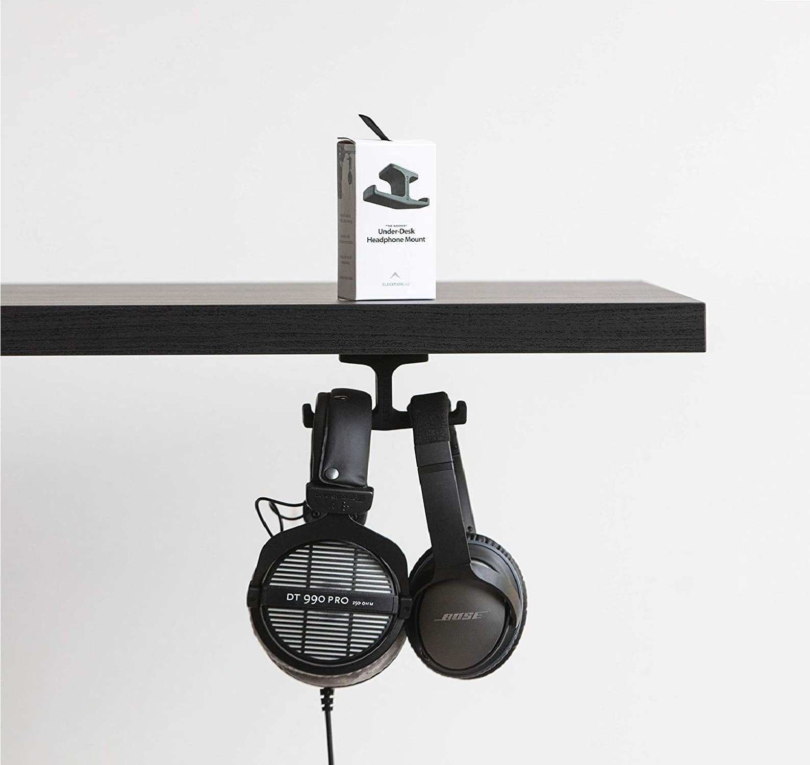 2.Elevation Lab The Anchor - The Original Under-Desk Headphone Stand Mount Gaming Headset, Over Ear Headphones Hook, Universal Dual Fit