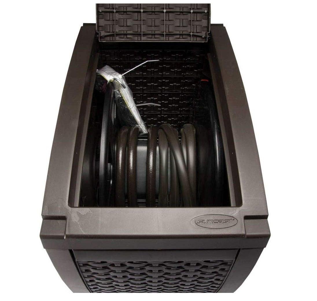 2.Suncast Aquawinder 125' Wicker Garden Hose Reel - Lightweight Portable Hands - Free Water Powered Retractable Hose Reel - Java