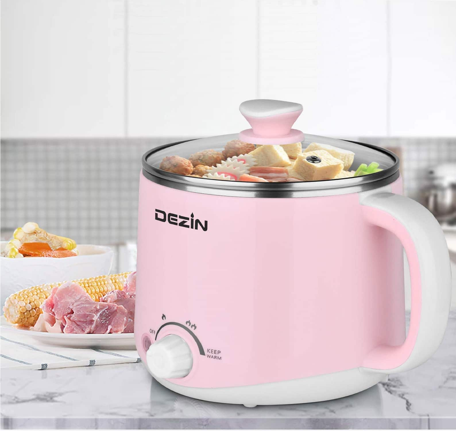 3.Dezin Electric Hot Pot, Rapid Noodles Cooker, Stainless Steel Mini Pot 1.6 Liter, Perfect for Ramen, Egg, Pasta, Dumpling, Soup