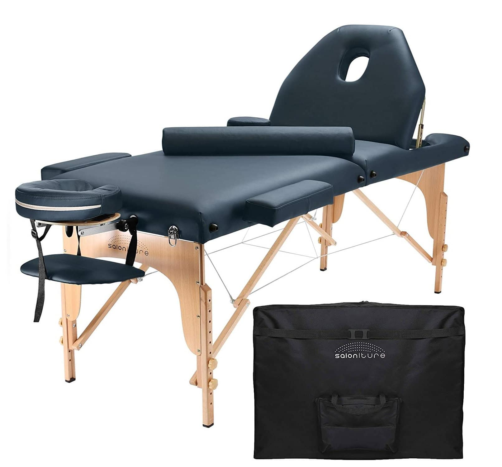 3.Saloniture Professional Portable Massage Table with Backrest - Blue