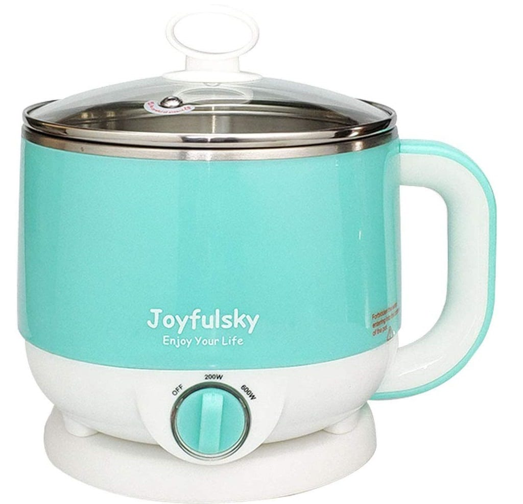 4.Joyfulsky Electric Hot Pot 1.5L 110V 600W, 304 Food Grade Stainless Steel Inner Pot,Cook Noodles,Boil Water and Eggs, Electric Cooker,