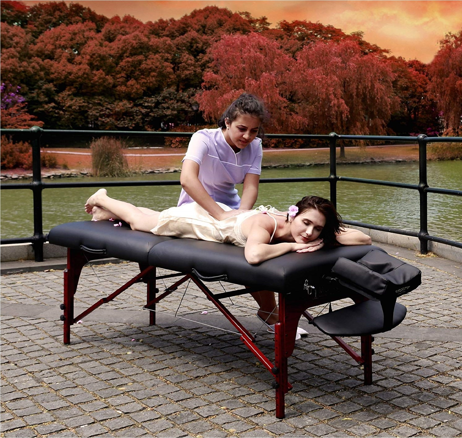 5.Master Massage 31 Montclair Professional Portable Massage Table Package with MEMORY FOAM Layer -Black