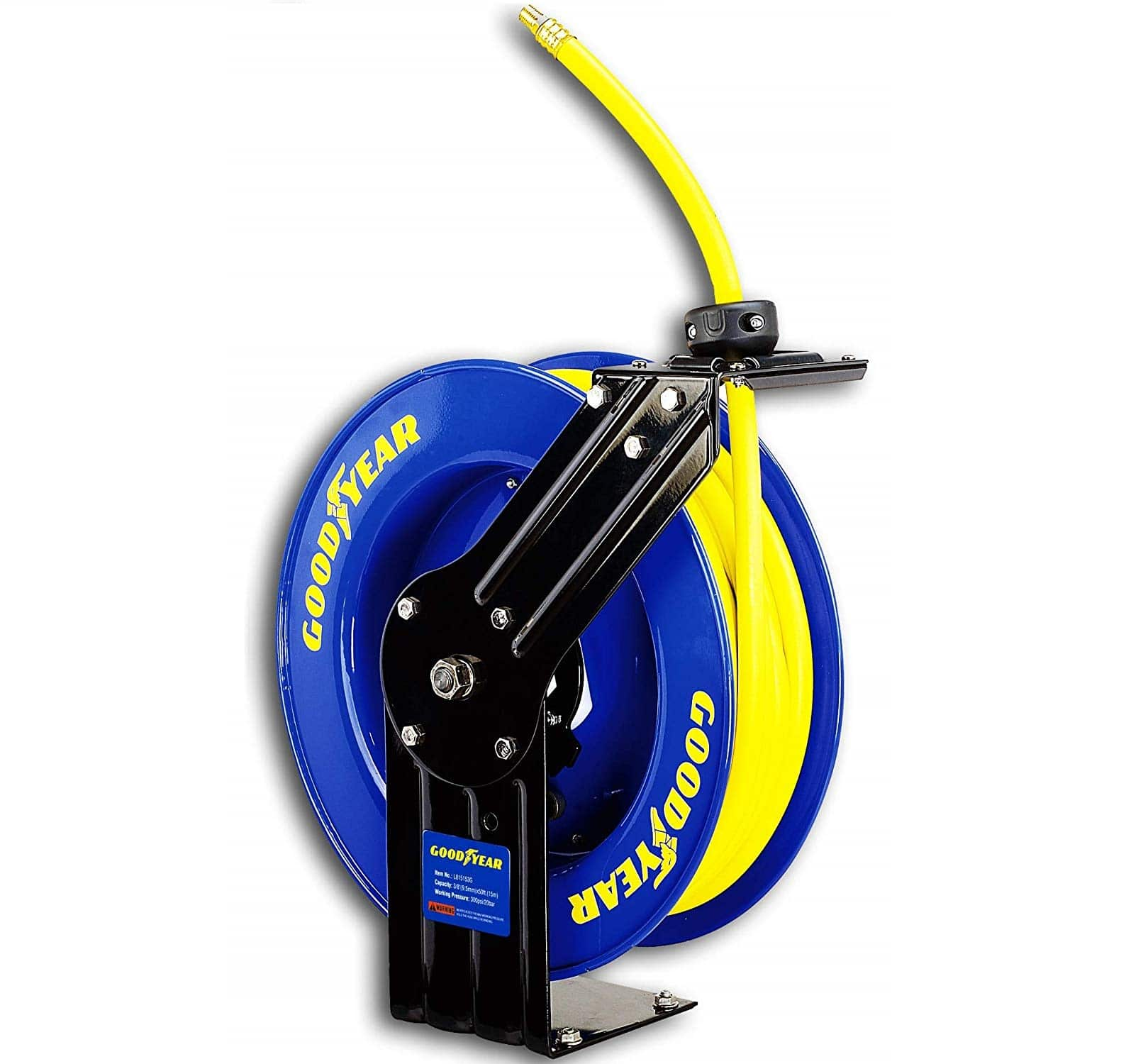 6.Goodyear L815153G Steel Retractable Air Compressor Water Hose Reel with 3 8 in. x 50 ft. Rubber Hose, Max. 300PSI