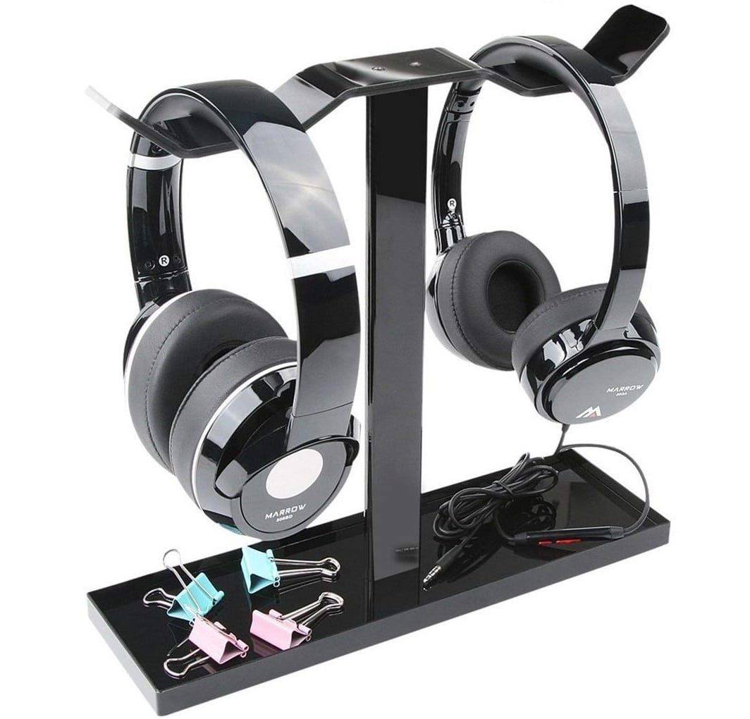 7.Headphone Stand, MOCREO Acrylic Dual Balance Headset Stand Gaming Headphone Holder Mount Hanger, Desktop Headset
