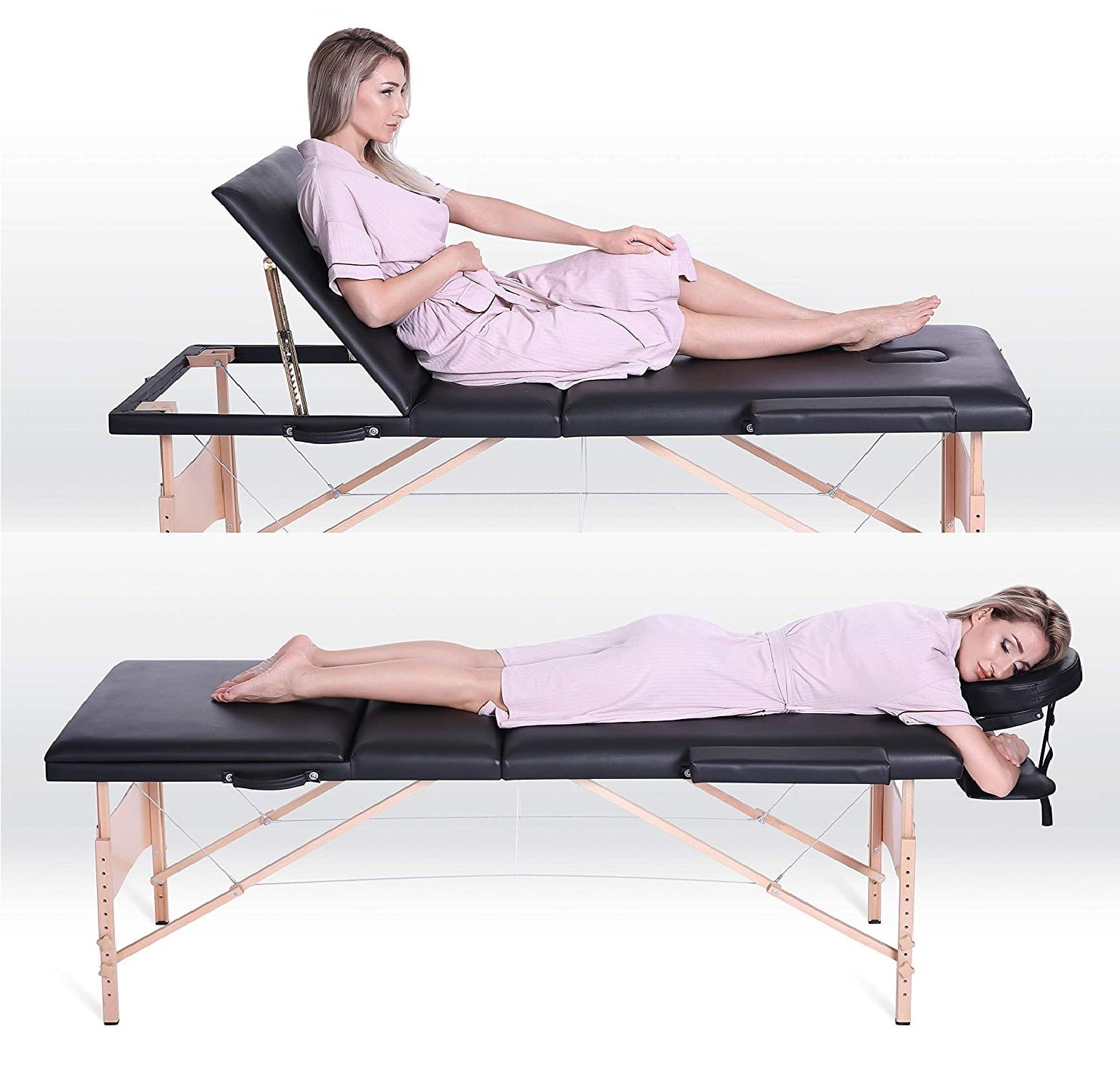 7.MaxKare Portable Massage Table 84' With Carrying Bag & Accessories, 3 Fold, Extra Wide, Black.