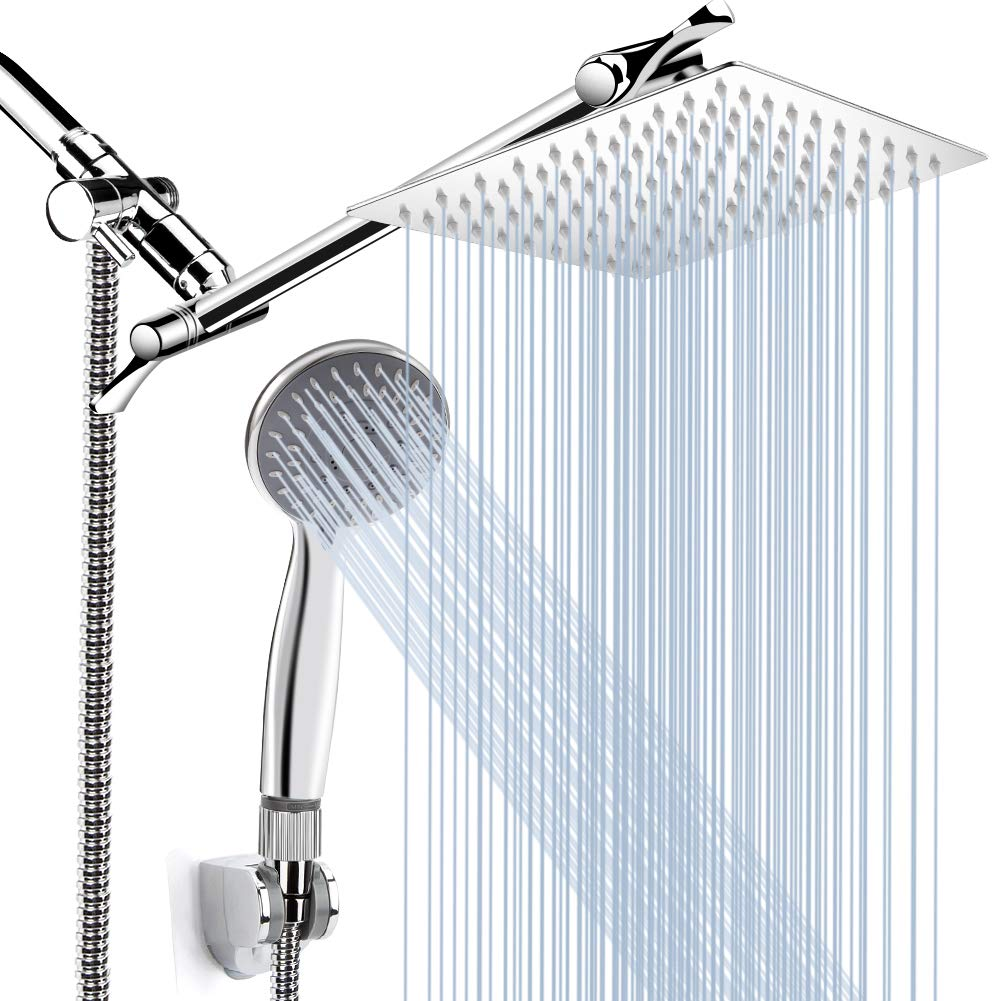 8 High Pressure Rainfall Shower Head Handheld Shower Combo