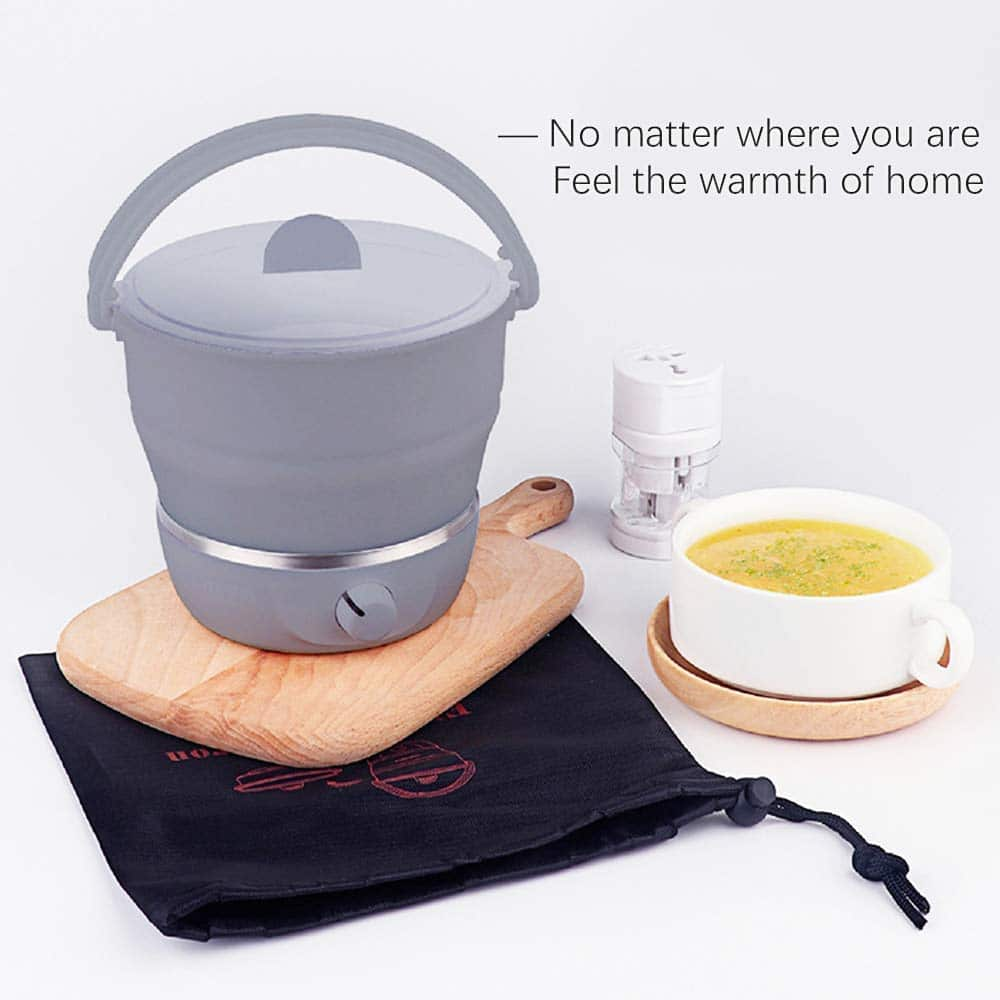 8.Drizzle Electric Hot Pot Cooker Foldable Travel Noodle Pot Food Grade Silicone Steamer 100V-240V Camping Portable Office Hotel