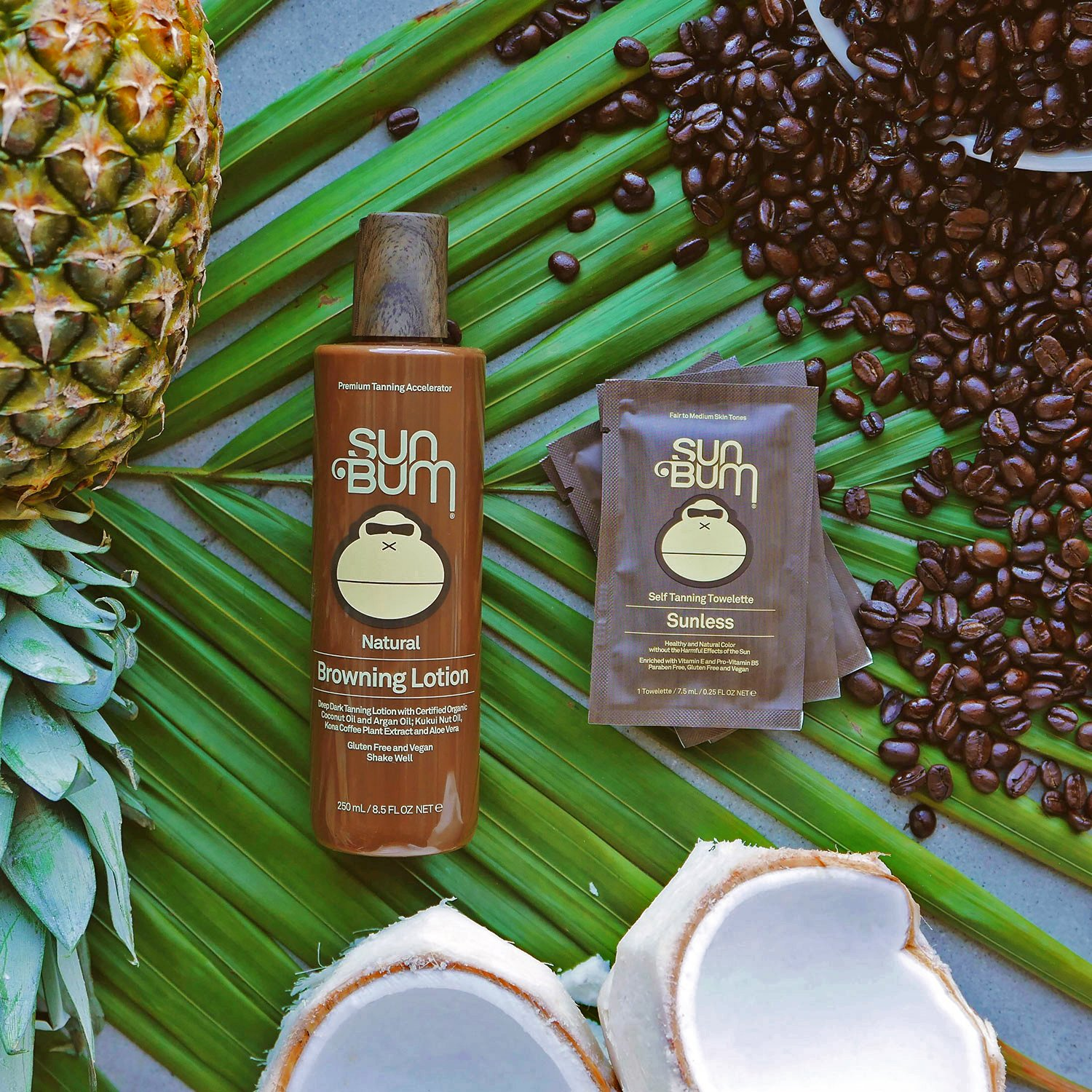 8.Sun Bum Natural Browning Lotion Dark Tanning Lotion with Organic Coconut Oil, Kona Coffee Extract and Aloe Vera