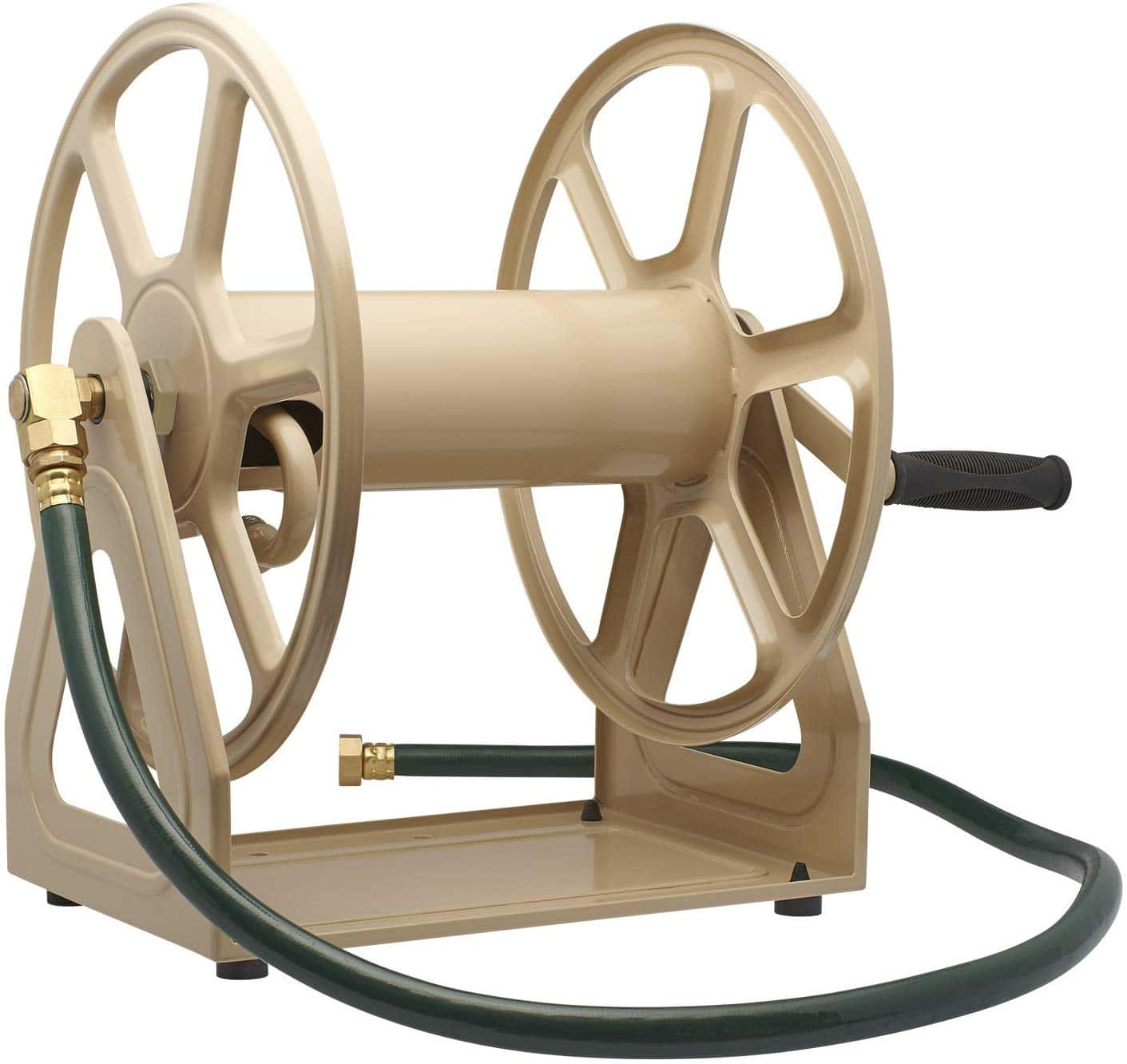 9.Liberty Garden 709 Steel Wall Floor Mounted Hose Reel, Holds 200-Feet of 5 8-Inch Hose - Tan