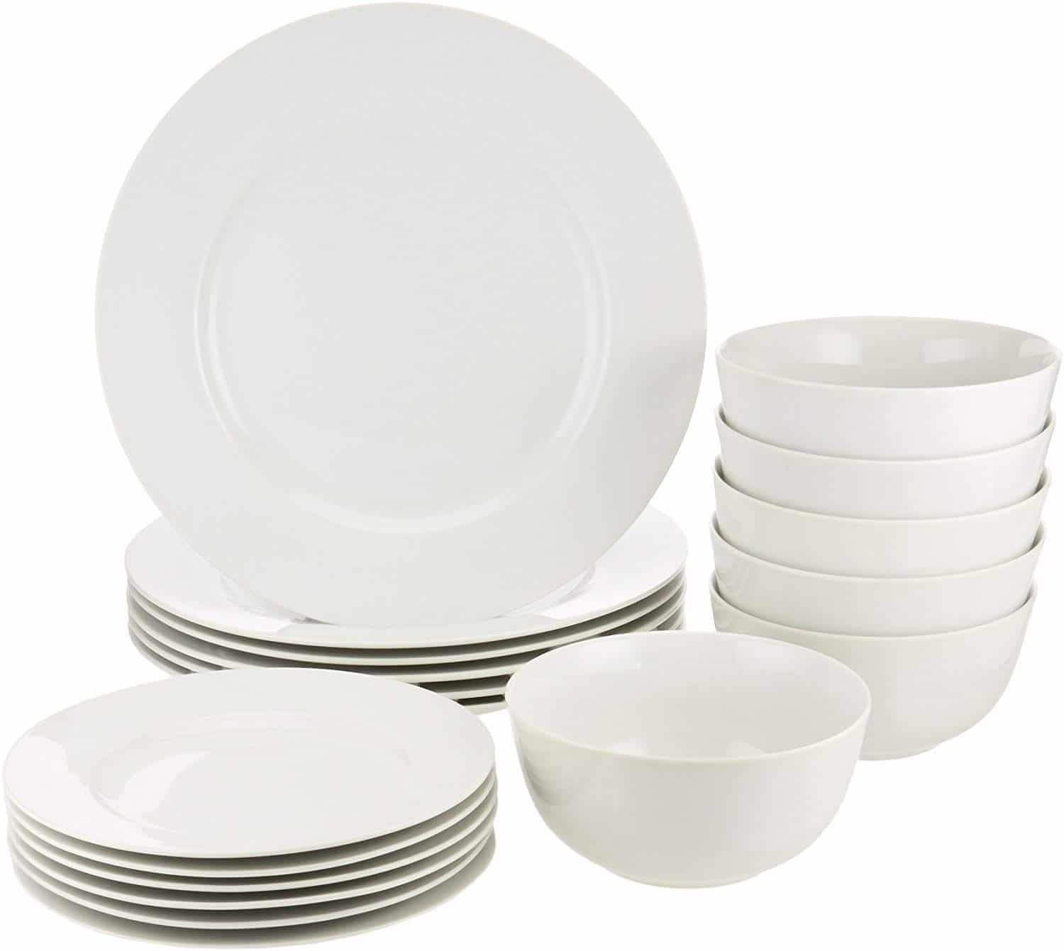 Amazon Basics 18-Piece White Kitchen dinner set