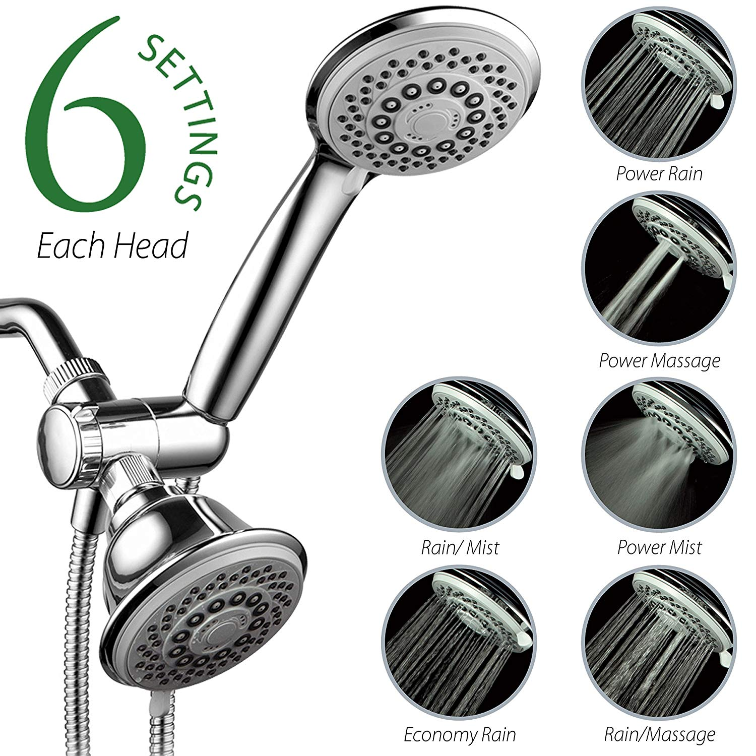 AquaStorm by HotelSpa 30 Setting SpiralFlo 3 Way Luxury Shower Head