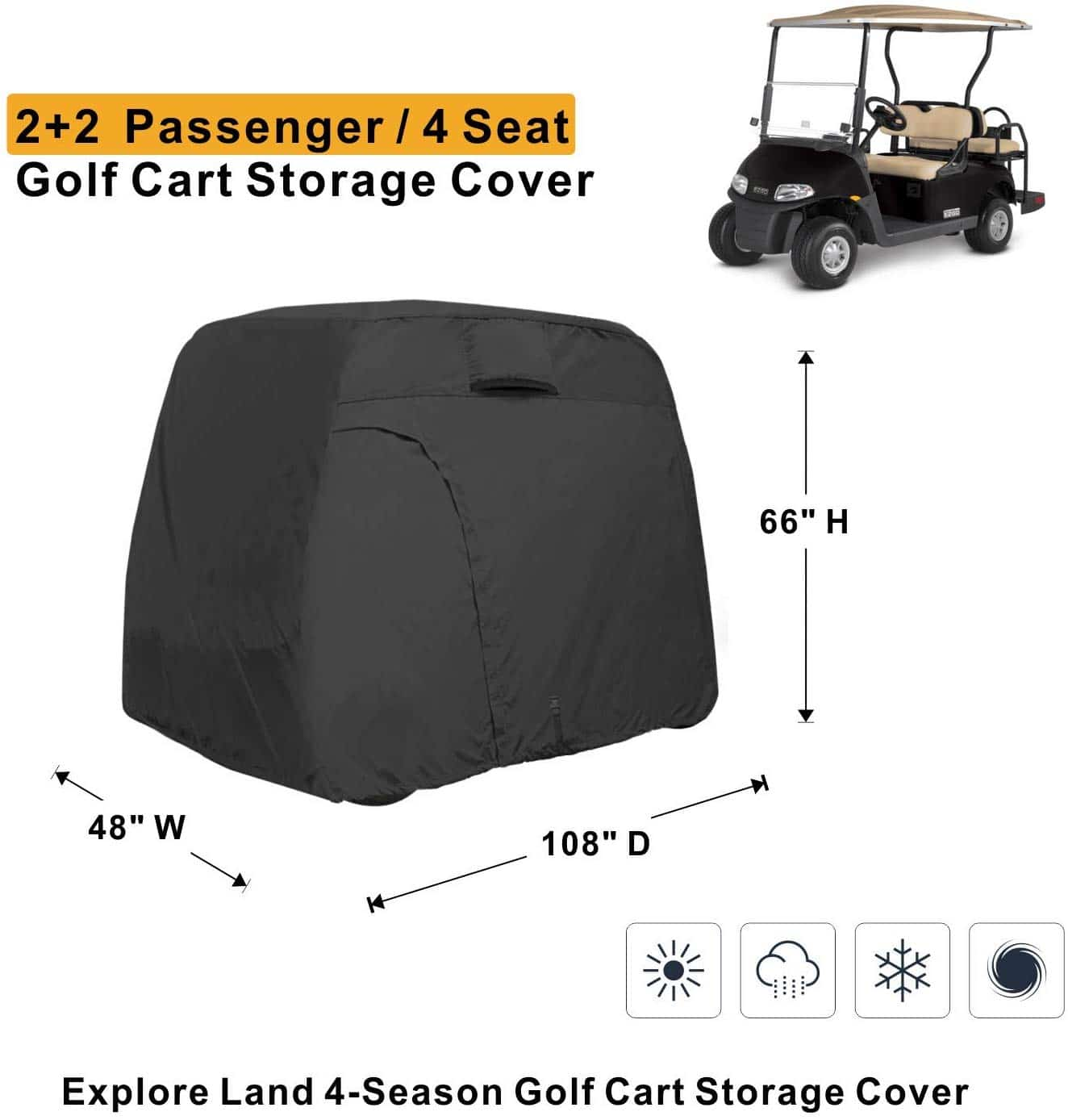 Explore Land 600D Waterproof Golf Cart Cover