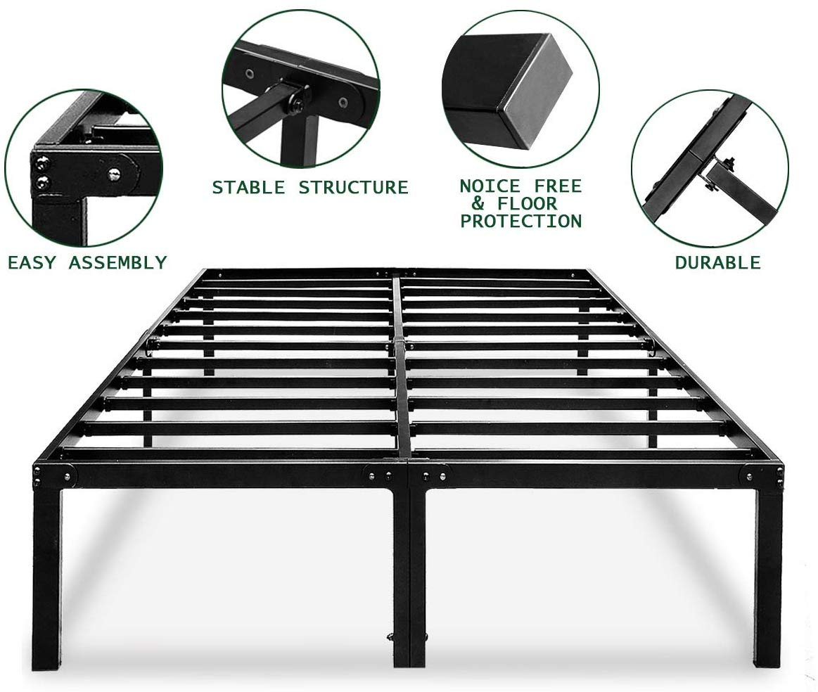 HAAGEEP Metal Platform Bed Frame Full with Storage 14 Inch Heavy Duty Beds Steel Slat Frames Standard Size