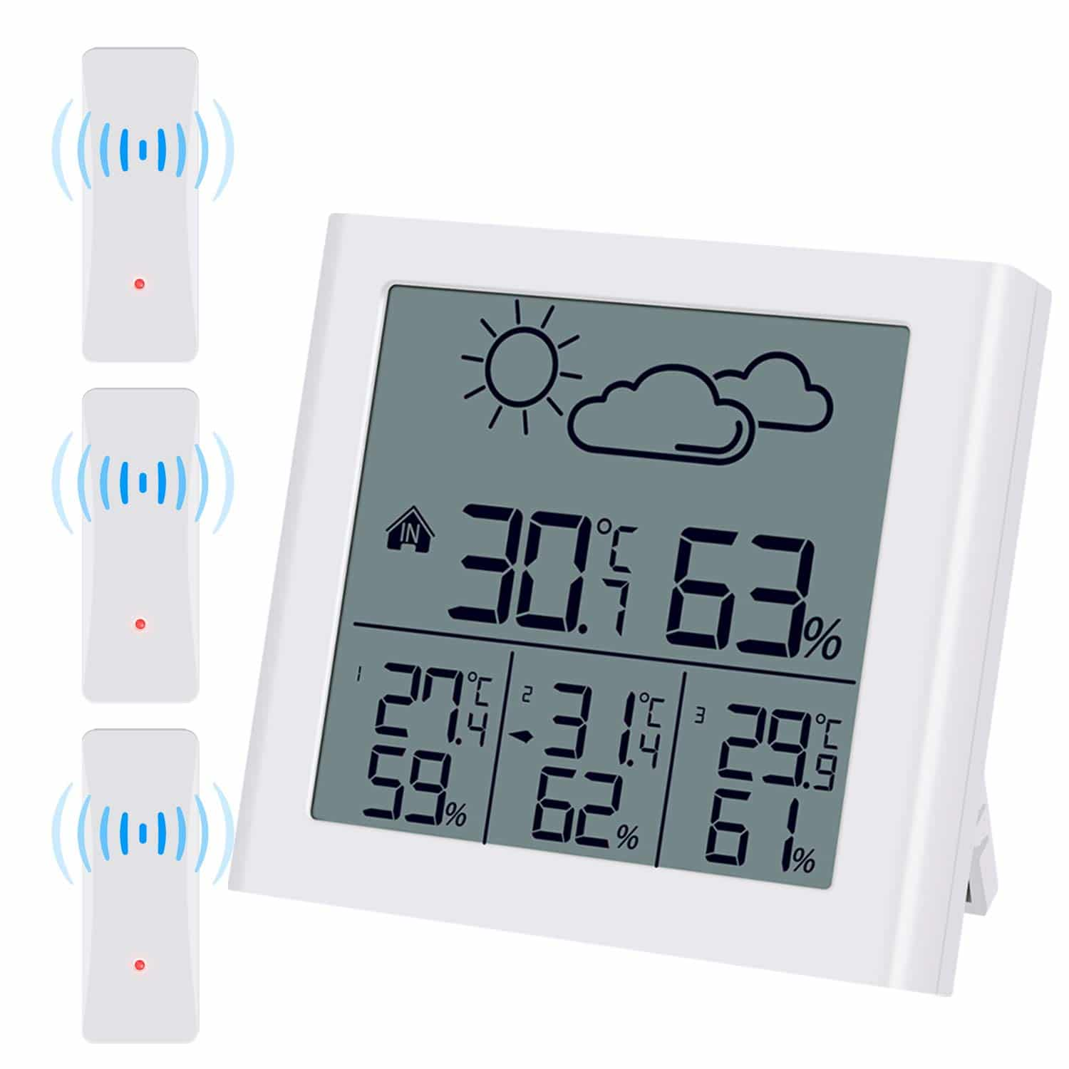 (Upgraded) Brifit Indoor Outdoor Thermometer with 3 Wireless Sensors