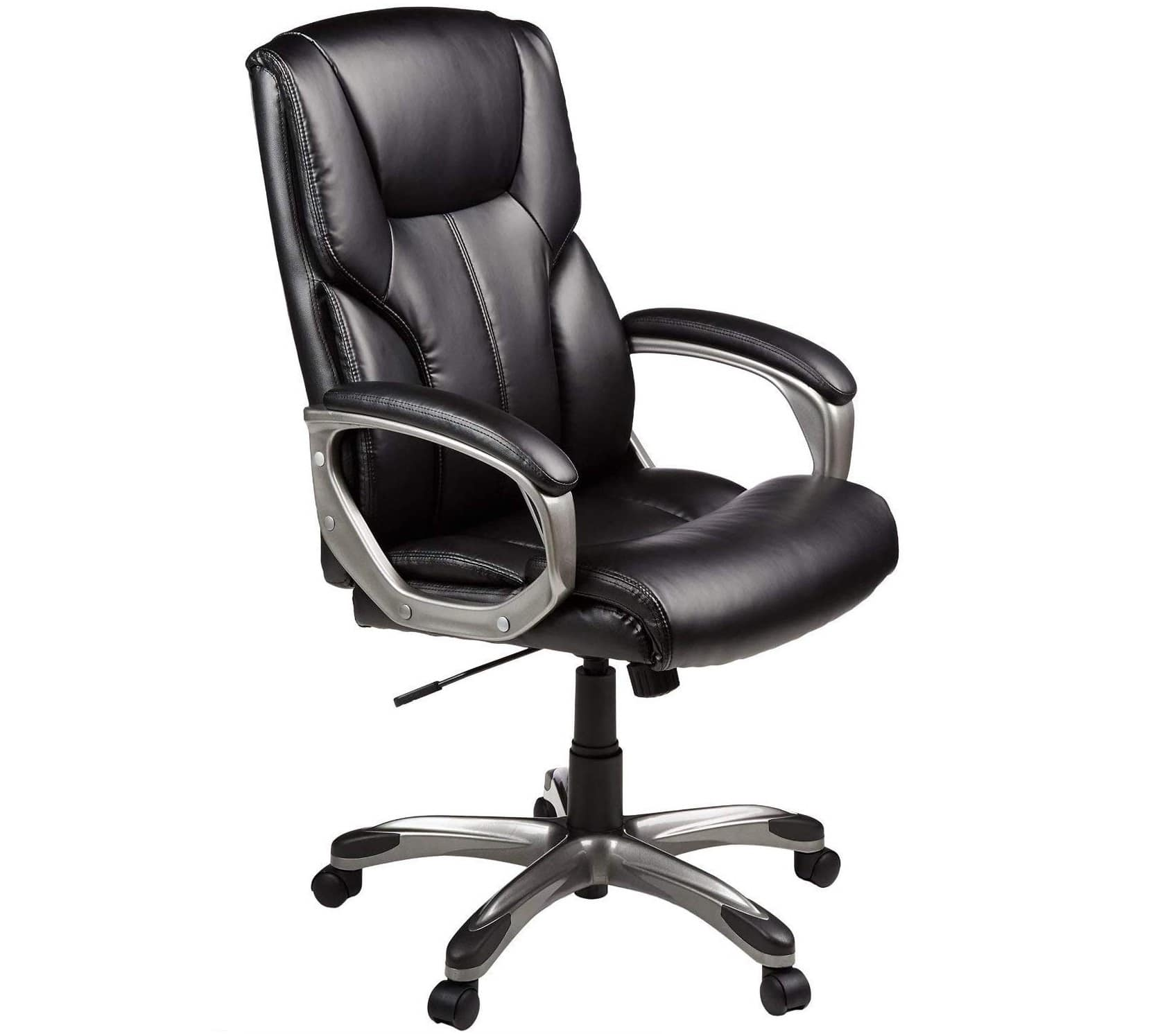 1.AmazonBasics High-Back Executive Swivel Office Computer Desk Chair - Black with Pewter Finish, BIFMA Certified