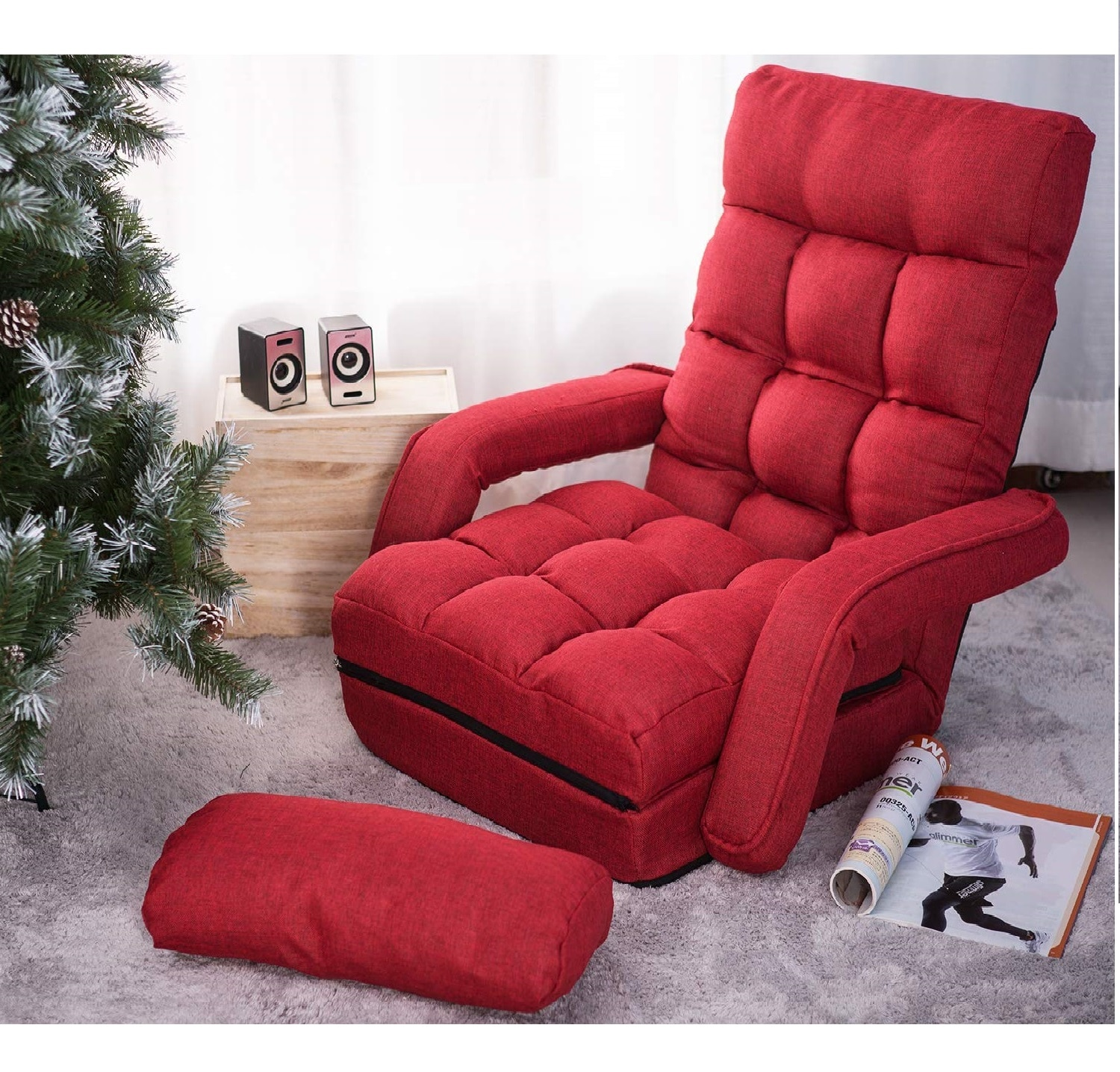 10.MOOSENG Folding Lazy Floor Chair Sofa Lounger Bed with Armrests, Red(Pillow)