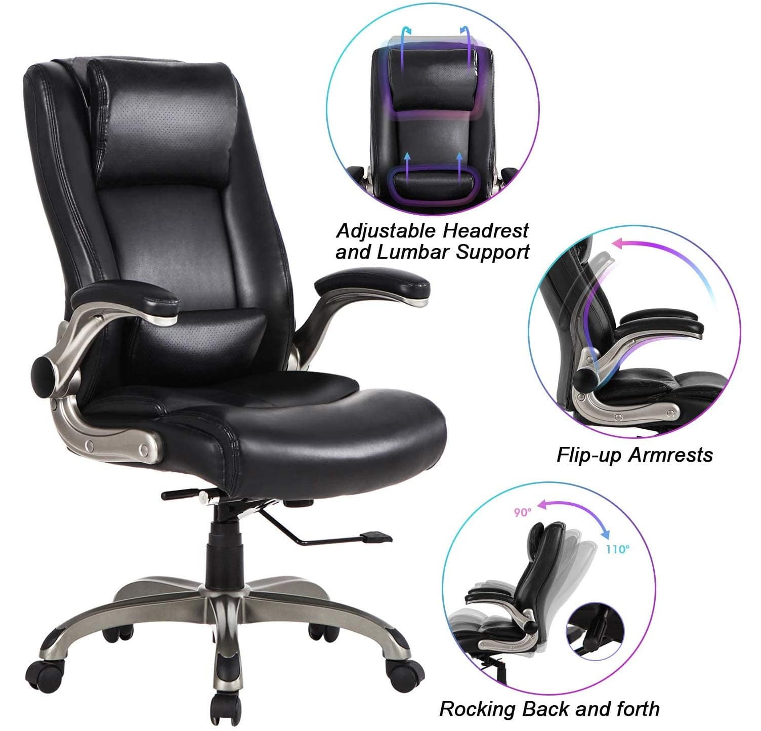 10.Office Chair High Back Leather Executive Computer Desk Chair - Adjustable Lumbar Support