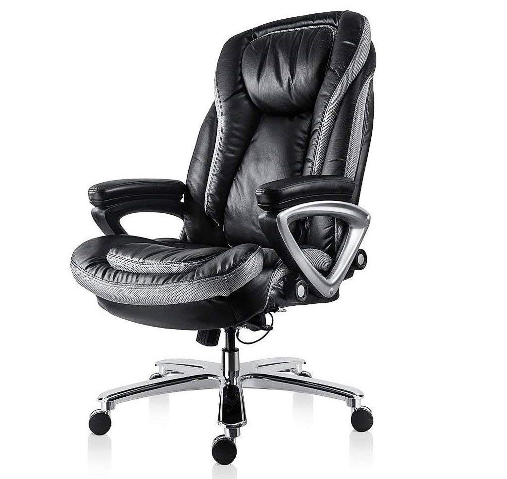 11.Smugdesk High Back Executive Office Chair with Thick Padding Headrest and Armrest Home Office Chair with Tilt Function, Dark Black