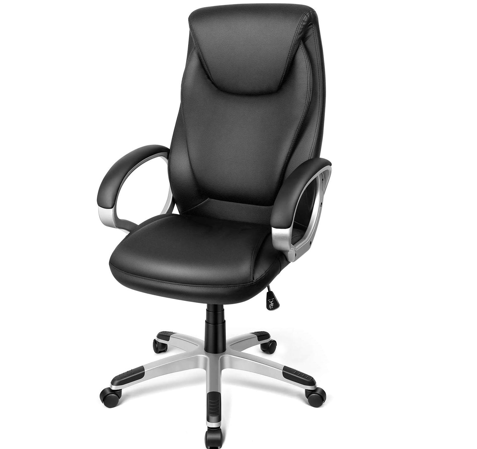 12.TUSY-Office Chair Desk High-Back Executive Swivel Chair Computer Chair Black with Back Support and Armrest in Home Office