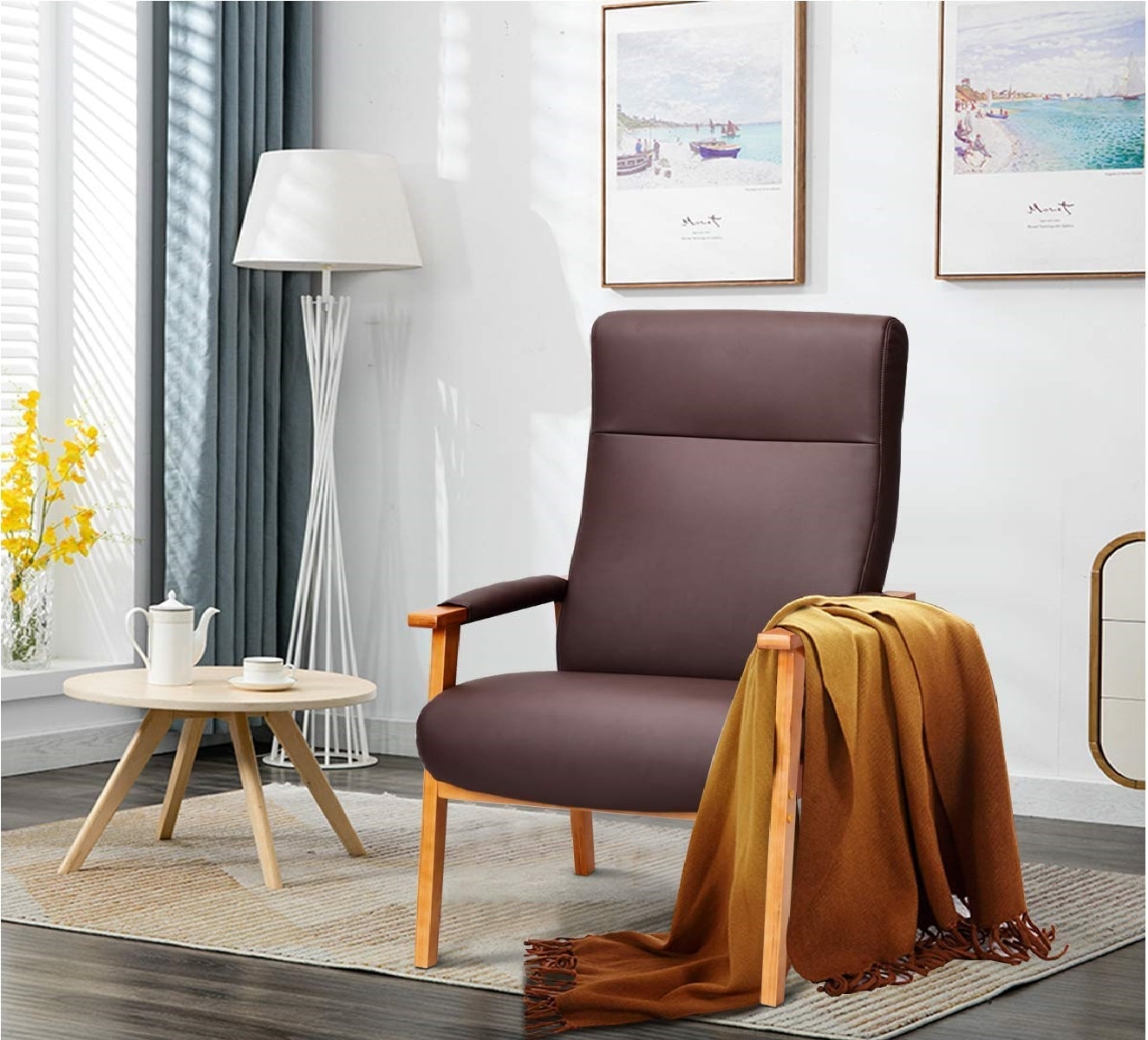 13.Giantex Accent Arm Chair PU Leather, High Lounge with Comfortable and Removable Cushions
