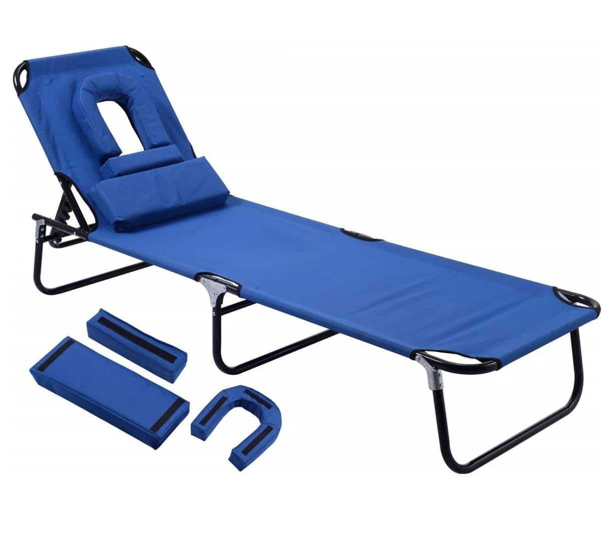 13. Gymax Outdoor Lounge Chair with Face Hole - Best Adjustable Reclining Folding Lounge Chairs