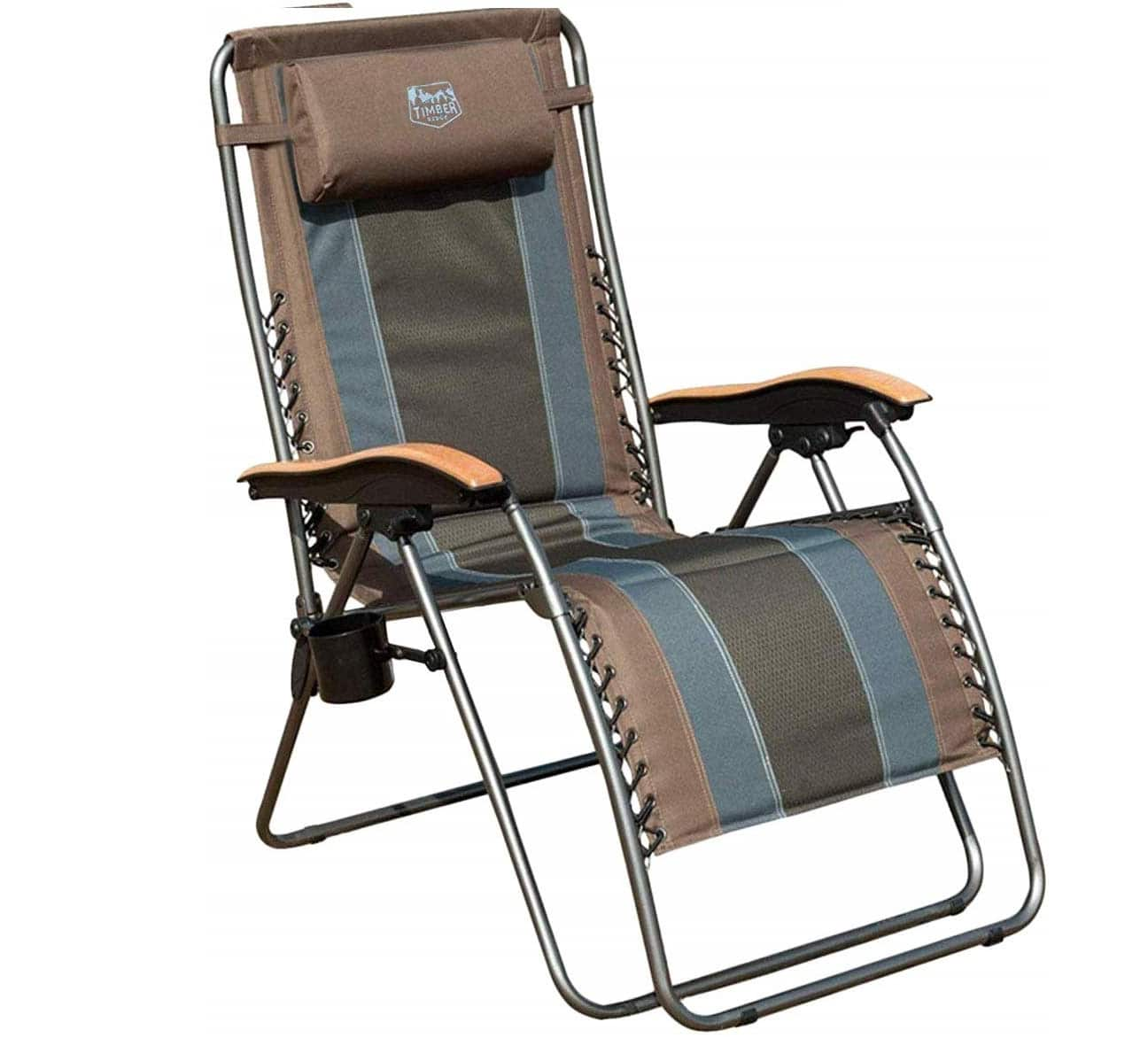 2. Timber Ridge Outdoor Folding Lounge Chair with Over Siz Recliner Padded and Cup Holder - Zero Gravity Adjustable Beach Lounge Chair