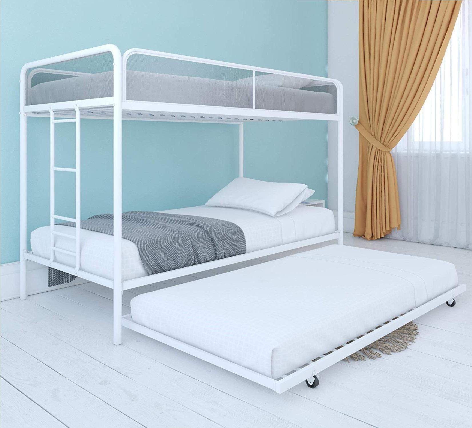 3.DHP Triple Metal Bunk Bed Frame, White