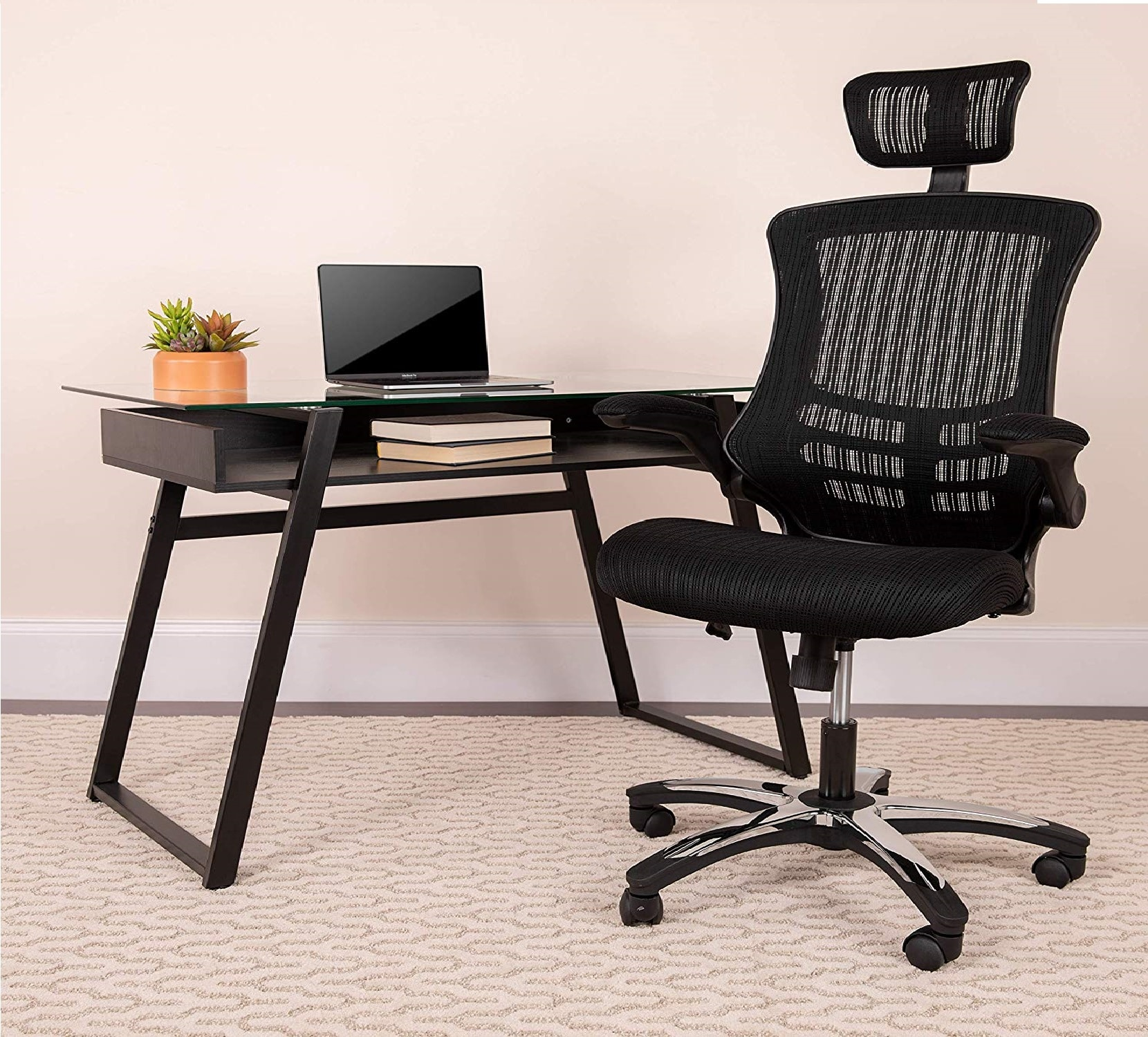 4.Flash Furniture High Back Office Chair High Back Mesh Executive Office and Desk Chair with Wheels and Adjustable Headrest