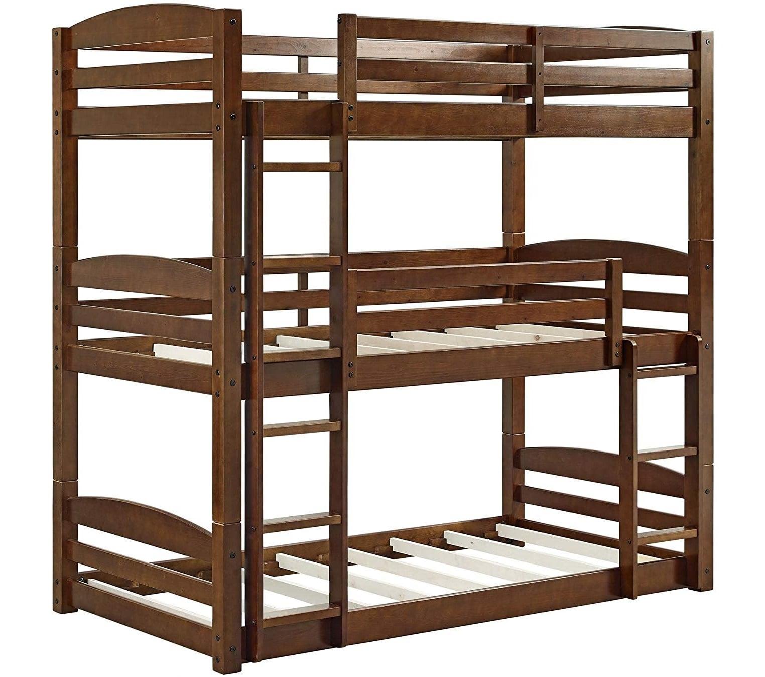 5.Dorel Living Sierra Triple Bunk Bed, Mocha