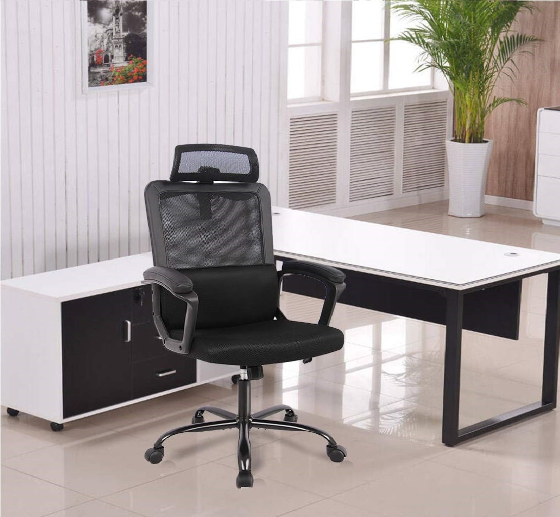 5.Ergonomic Office Chair High Back Office Chair Mesh Desk Chair with Padding Armrest Adjustable Headrest