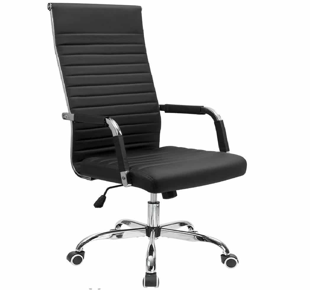 6.Furmax Ribbed Office Chair High Back PU Leather Executive Conference Chair Adjustable Swivel Chair with Arms
