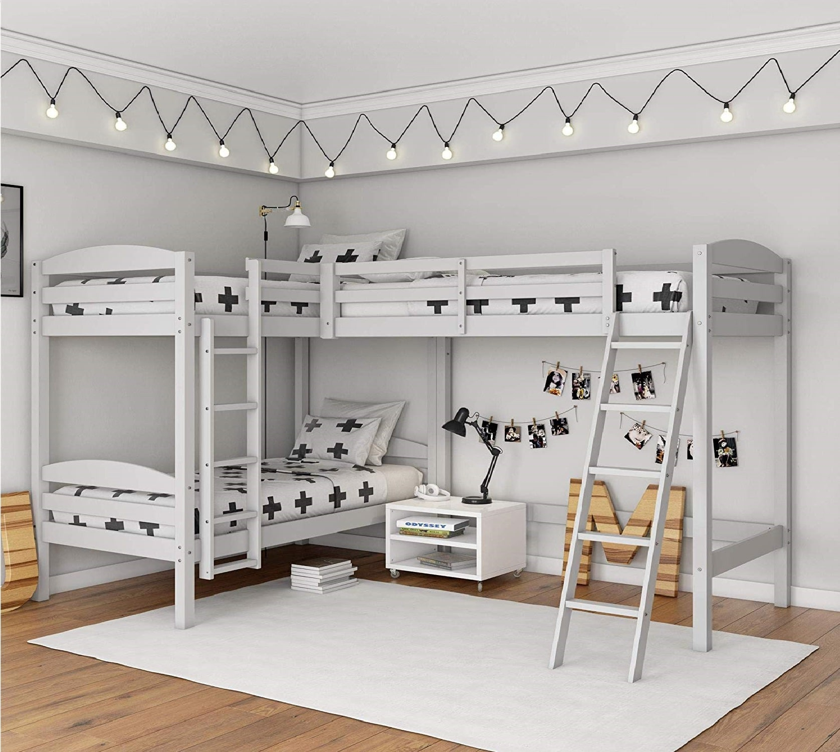 7.Dorel Living Clearwater Triple, White Bunk Beds