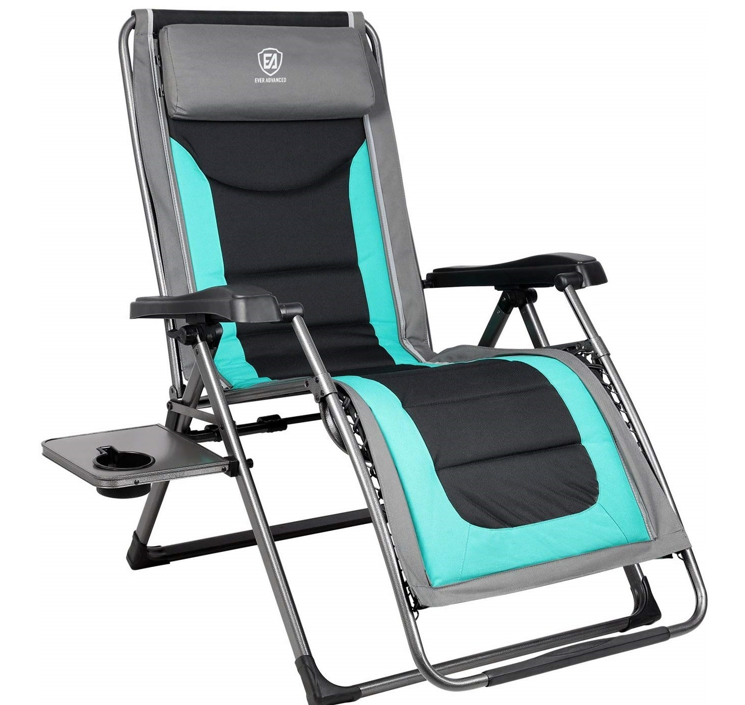 7. EVER ADVANCED Oversized Zero Gravity Folding Lounger Chair with Recliner Padded - Outdoor Patio Beach Lounge Chair with Adjustable Headrest