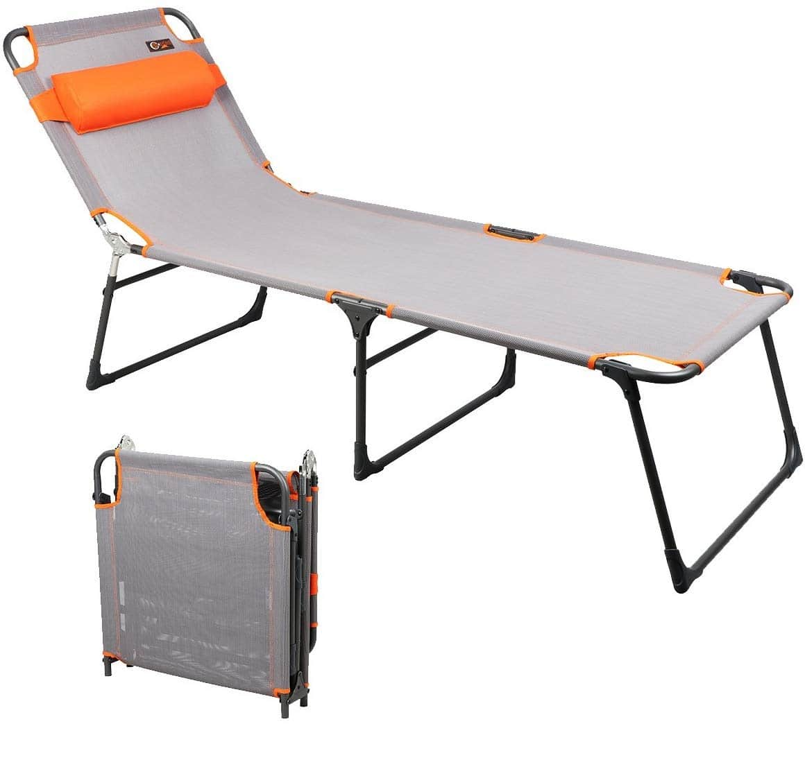 8. PORTAL Foldable Lounge Chair with Adjustable Reclining Beach Lounge Chair