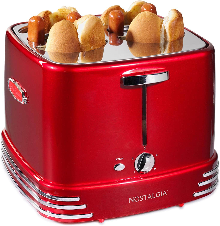 Nostalgia RHDT800RETRORED Pop-Up 4 Hot Dog and Bun Toaster
